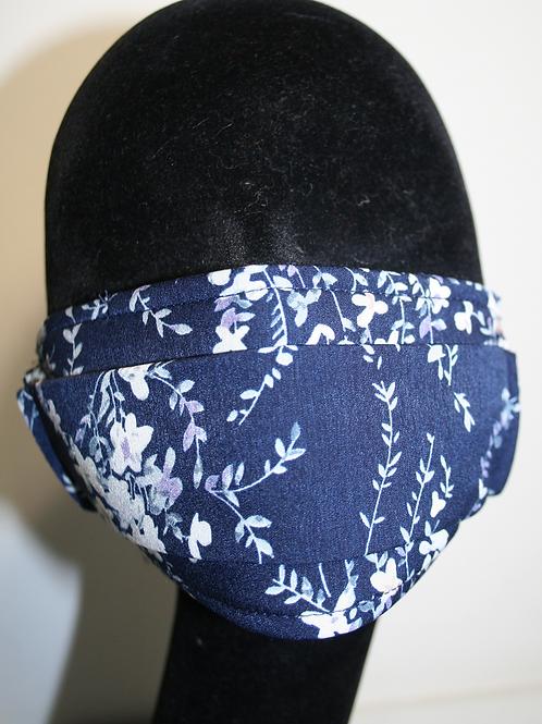 Masque double couche imprimé fleurs bleu marine/beige 821081112