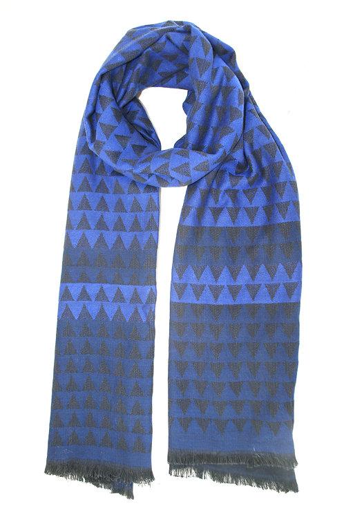 Echarpe en laine bleu intense-bleu marine-noir