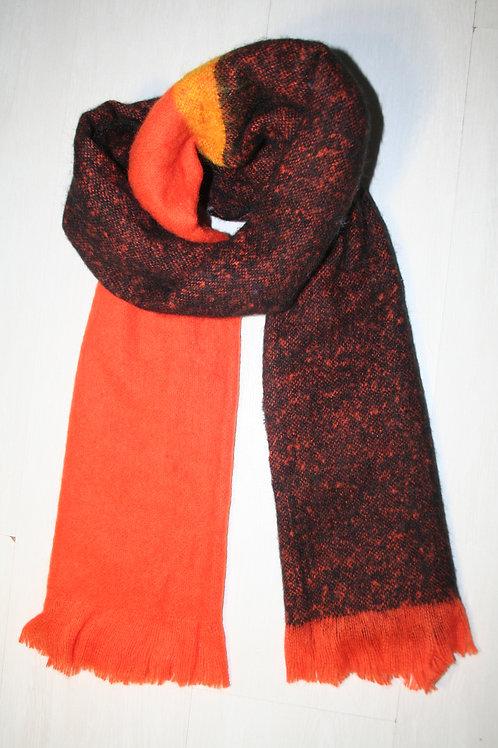 Echarpe épaisse bicouleur orange-noir
