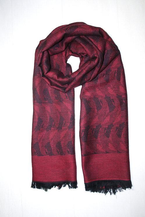 Echarpe en laine imprimée bordeaux-aubergine-noir