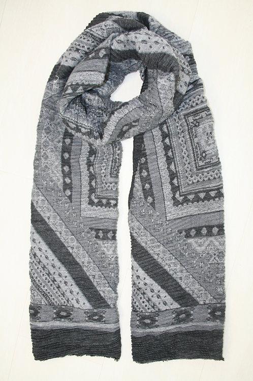Echarpe plissée aux motifs géometriques gris clair-gris métal-gris anthracire