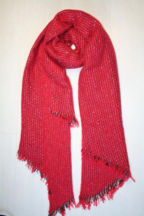Echarpe épaisse en maille rouge framboise avec des fils argentés