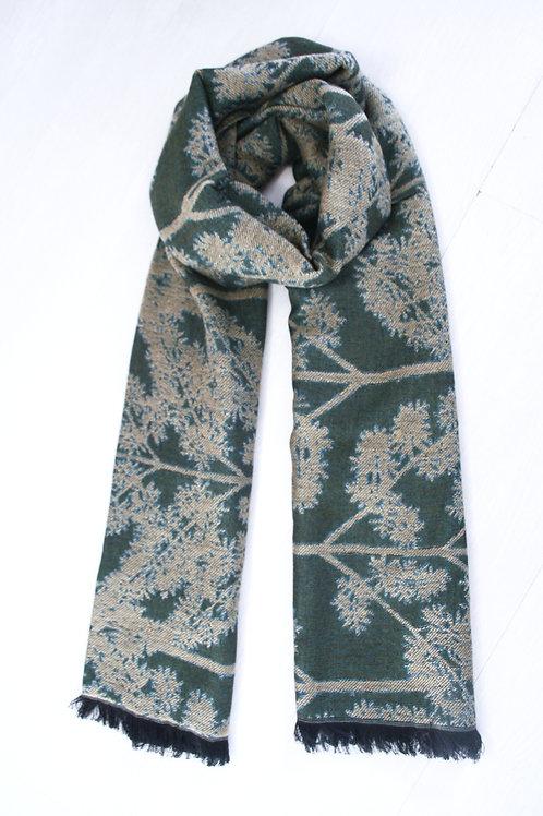 Echarpe en laine réversible vert sapin-beige sable