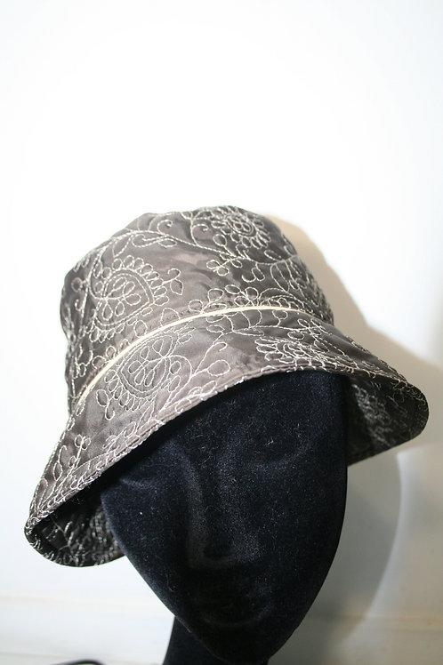Chapeau de pluie brodé marron/beige 128071244