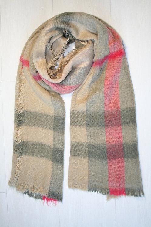 Echarpe épaisse à carreaux beige sable-gris-rouge framboise