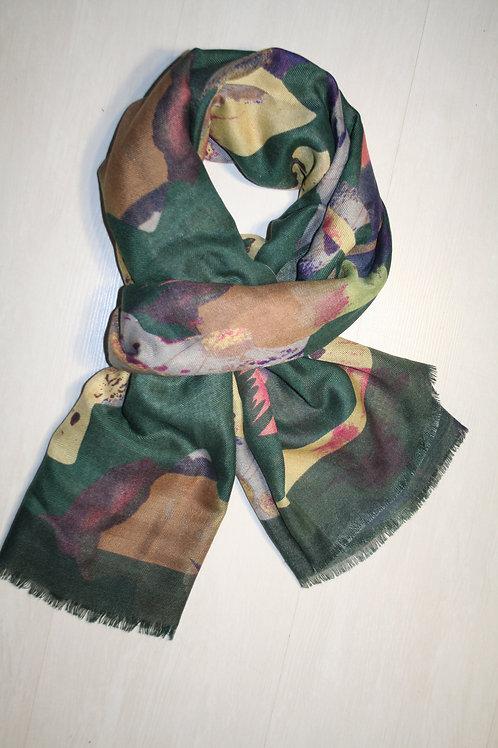 Echarpe imprimée géometrique vert sapin-ocre-gris-prune