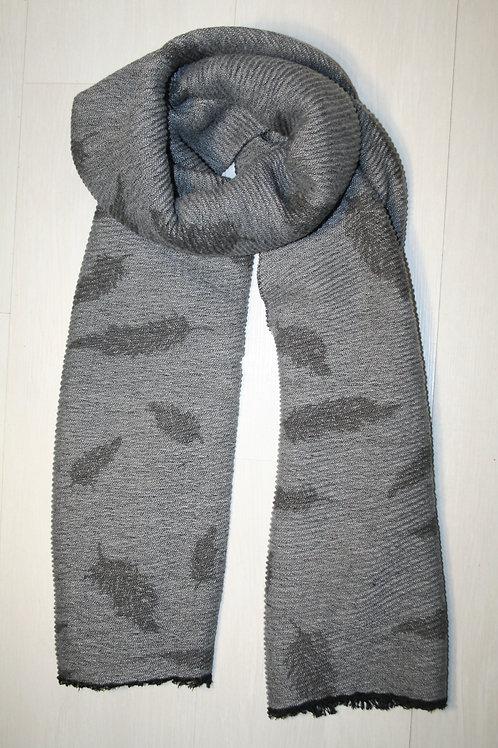 Echarpe plissée imprimé feuilles gris clair-gris métal
