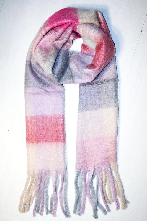 Echarpe épaisse à carreaux rose poudré-gris doux-corail
