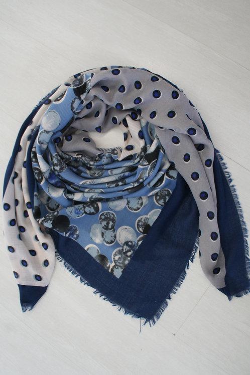 Grand carré imprimé bleu marine/bleu jeans/gris