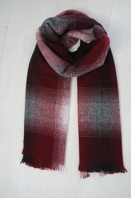 Echarpe épaisse à carreaux noir-bordeaux-blanc