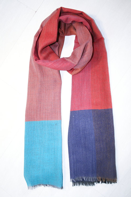 Echarpe en laine imprimé carreaux brique-petrol-bleu nuit