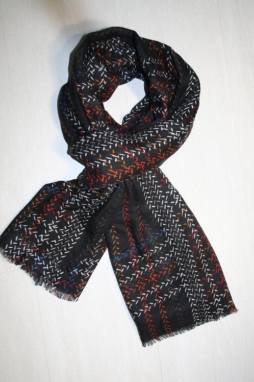 Echarpe noir-bleu-orange-gris