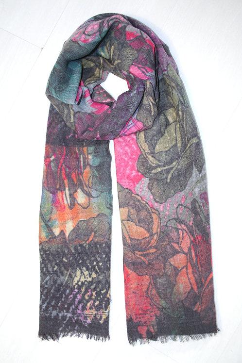 Echarpe en laine imprimé olive-rose-gris-orange