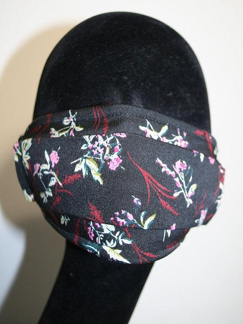 Masque imprimé fleurs noir 821081111