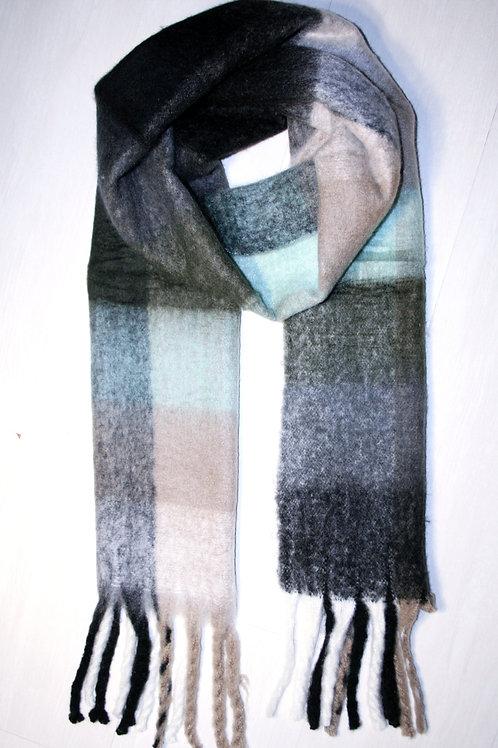 Echarpe épaisse à carreaux beige sable-aqua-gris anthracite-noir