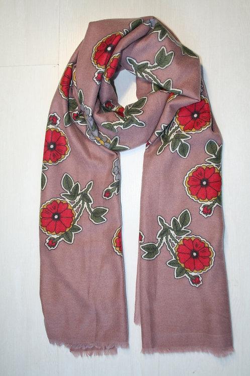 Echarpe imprimée fleurs vieux rose-rouge-vert sapin