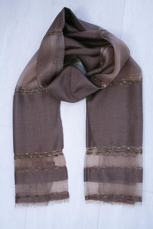 Foulard en soie/viscose taupe-camel