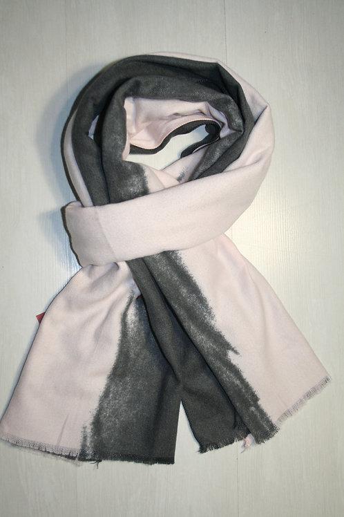 Echarpe en molleton dégradée rose poudré-noir