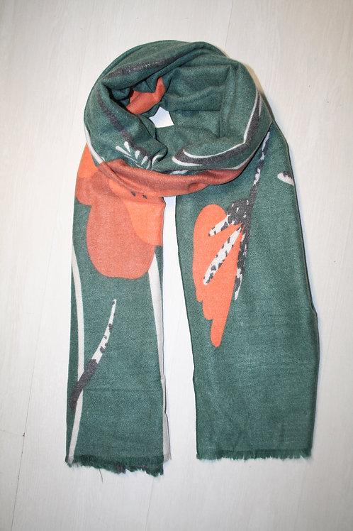 Echarpe en molleton vert sapin-roux-anthracite