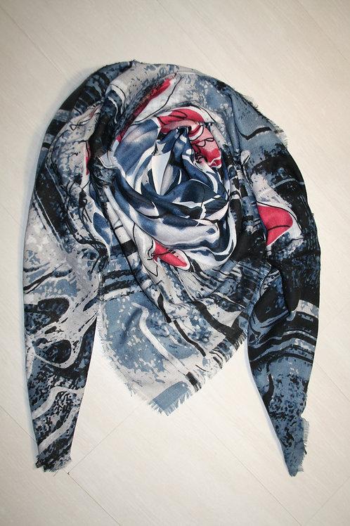 rand carré à imprimé géometrique bleu jeans-bleu marine-rose