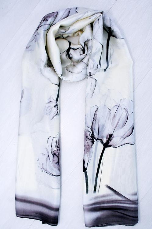 Foulard soie/viscose satiné blanc cassé-gris-noir