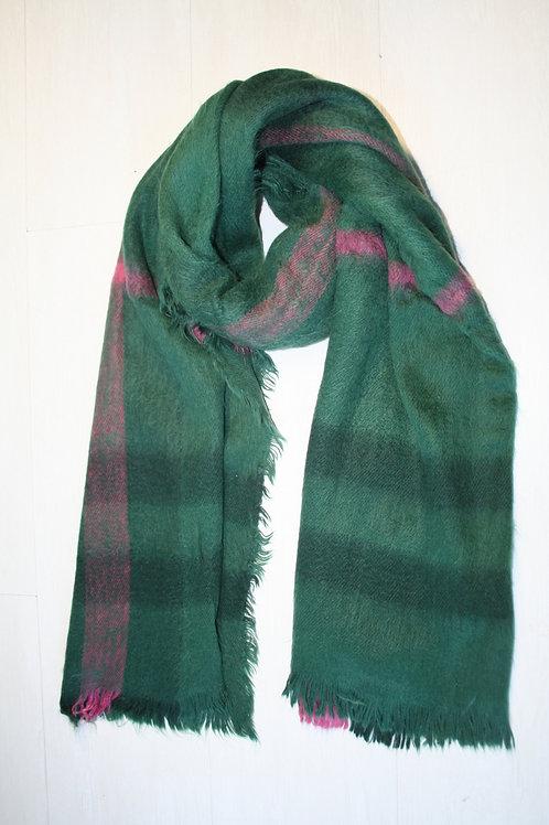 Echarpe épaisse à carreaux vert sapin-emeraude-rose