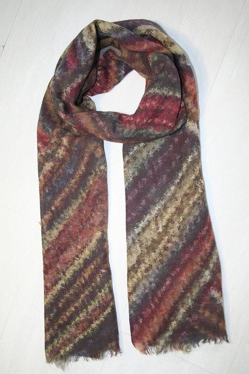 Echarpe en laine imprimé olive-gris métal-ocre-rouille