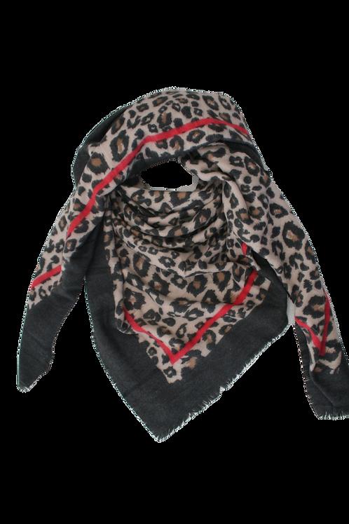 Grand carré imprimé léopard anthracite/vieux rose