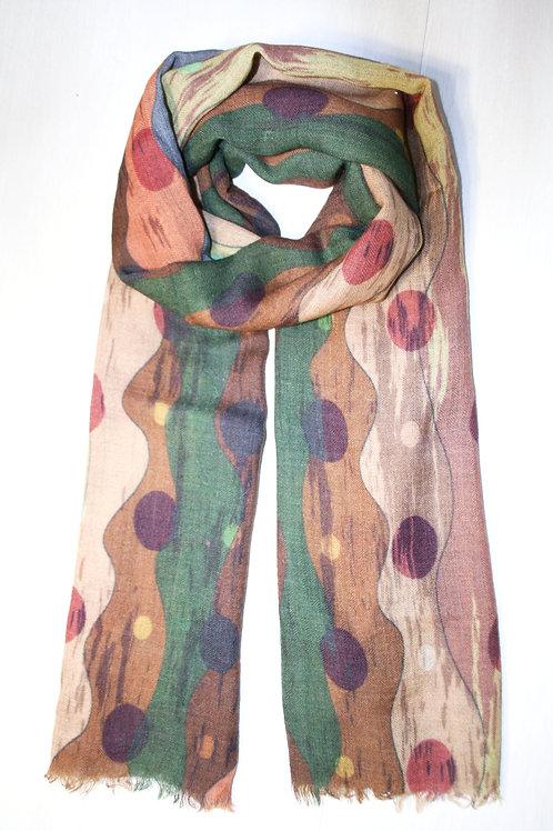 Echarpe en laine vert sapin-taupe-beige