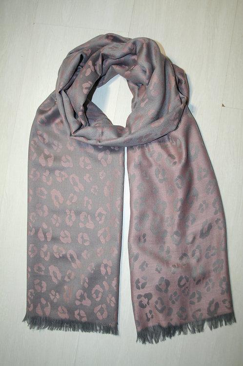 Echarpe fine imprimé léopard réversible vieux rose-gris métal