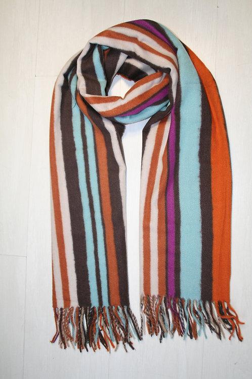 Echarpe à bandes multicouleur marron-orange-bleu ciel-blanc