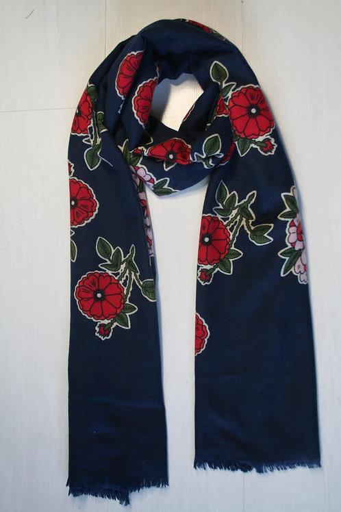Echarpe imprimée fleurs bleu marine-rouge-vert sapin