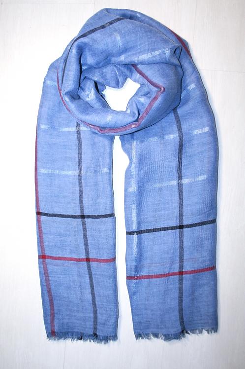 Etole fine de grande taille à carreaux fins bleu jeans