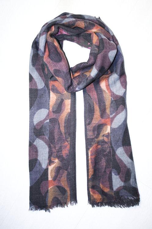 Echarpe en laine imprimée gris-camel-fuchia-ocre