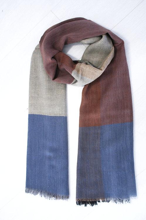 Echarpe en laine à carreaux marron-bleu nuit-taupe