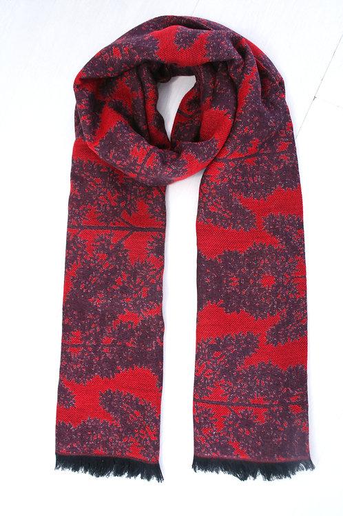 Echarpe en laine réversible rouge intense-prune foncé