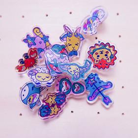 Star Sign Acrylic Pins