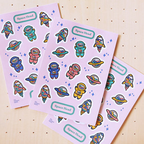 Space Head Journaling Sticker Sheet