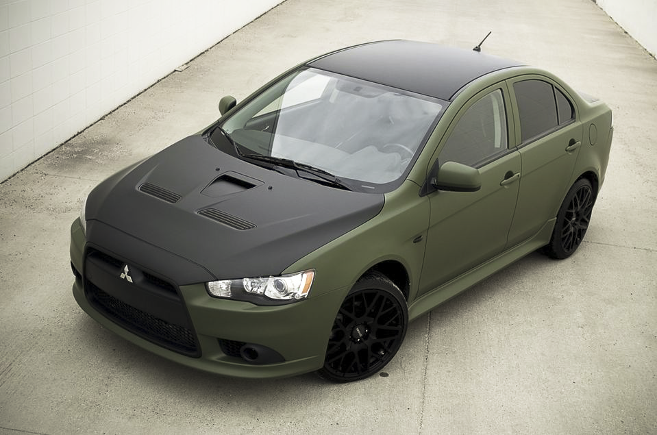 Mitsubishi Matte Army Green Wrap with Matte Black Hood