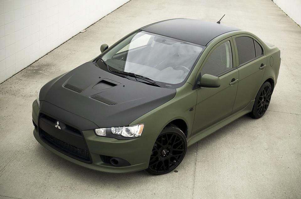 Mitsubishi Matte Army Green Wrap with Matte Black Hood