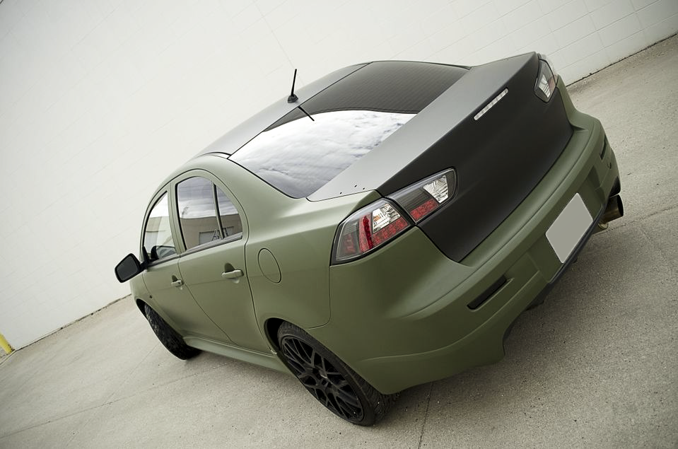 Mitsubishi Matte Army Green Wrap Rear