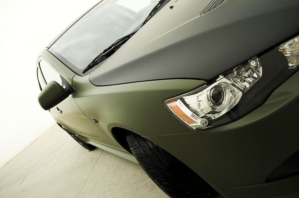 Mitsubishi Matte Army Green Wrap Close