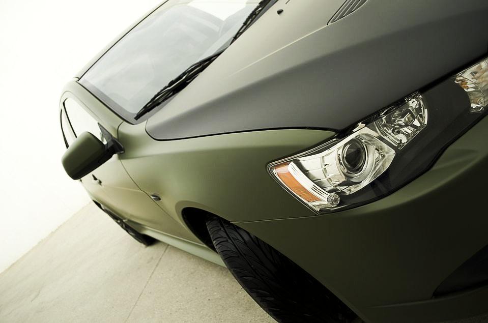 Mitsubishi Matte Army Green Wrap Close