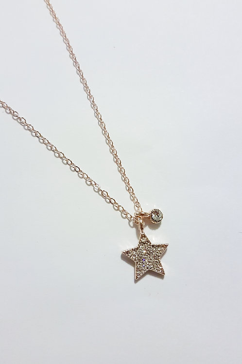 DN19005 Rose Gold Sparkle Star Necklace