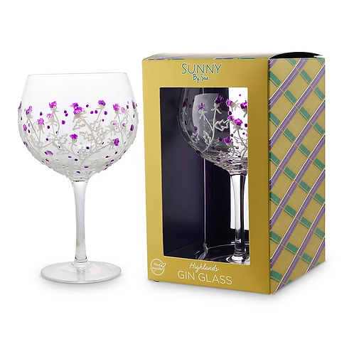 Handpainted Gin Glass - Thistle