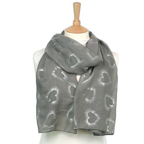 Grey Outline Heart Scarf