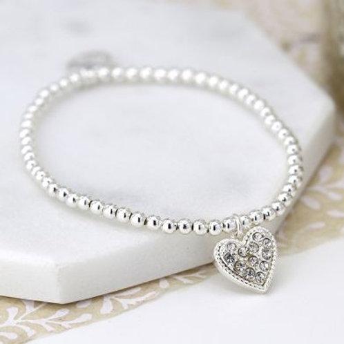 B21010 Silver Crystal Heart Bracelet