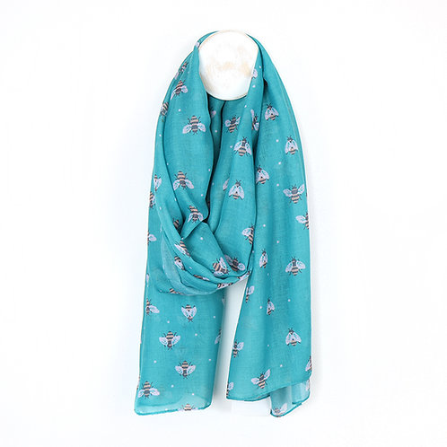 Recycled Turquoise Bee Scarf