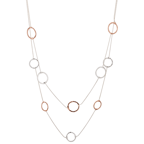 LN19037 Long Rose Gold Circles Necklace