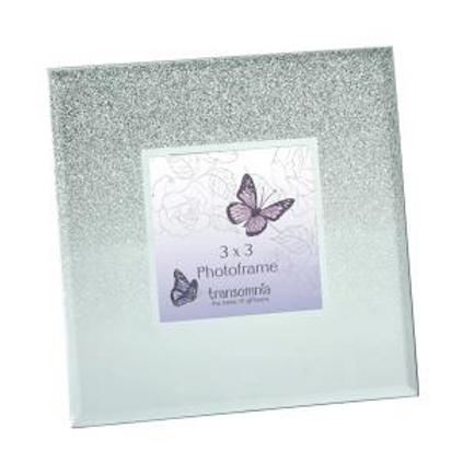 Cascading Silver Glitter Square Frame